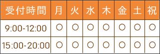 【受付時間】9:00~12:00、15:00~20:00【定休日】日曜